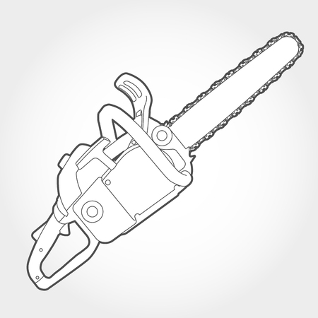 Gasoline-powered chain saw silhouette Illustration
