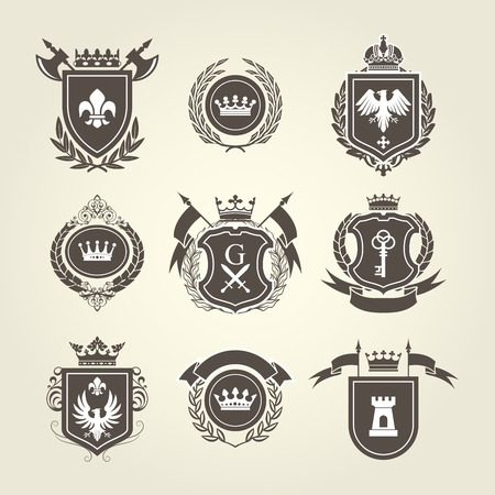 eagle shield and laurel wreath: Coat of arms and knight blazons - heraldic shields