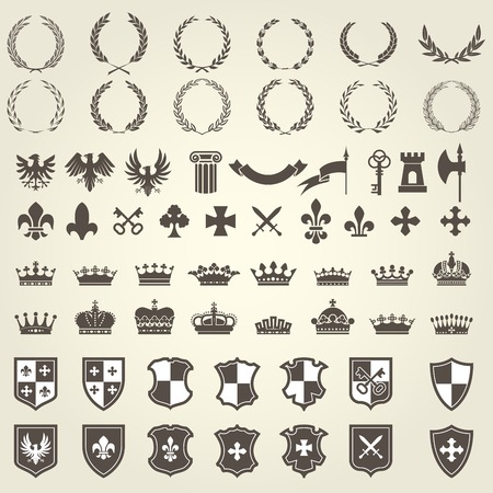 eagle shield and laurel wreath: Heraldry kit of knight blazons and coat of arms elements - medieval heraldic emblems