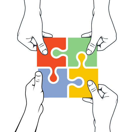 Four hands joining puzzle piece - association and merger concept