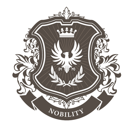 Monarchy coat of arms - heraldic royal emblem shield with crown and laurel wreath