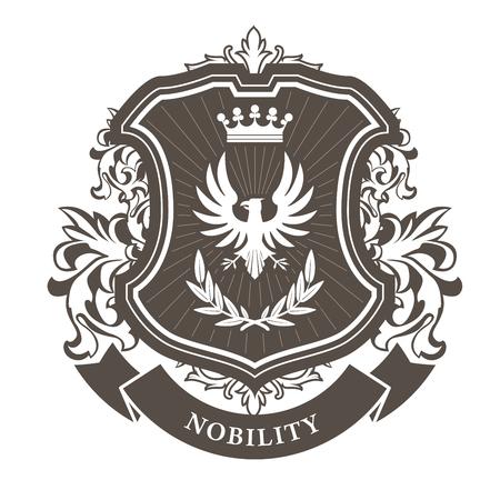 Monarchy herbu - herb heraldyczny heraldyczny tarcza z wieńcem korony i wawrzynu