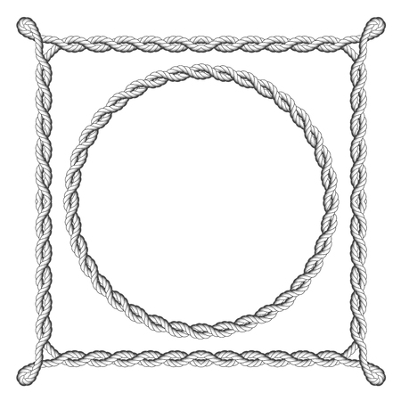 coiled rope: Twisted rope frames - round and square marine borders