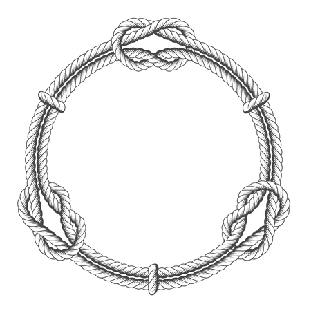 Twisted rope circle - round frame with knots Vectores