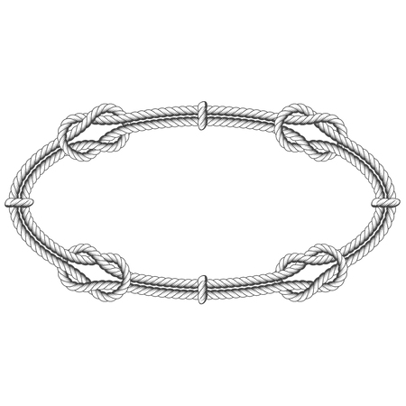 Twisted rope oval - elliptic frame with knots