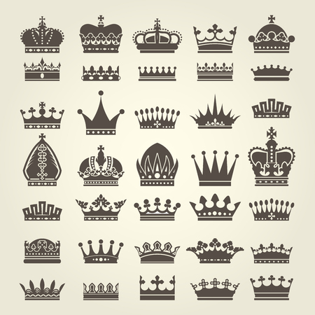 coronet: Crown icons set - monarchy authority and royal symbols