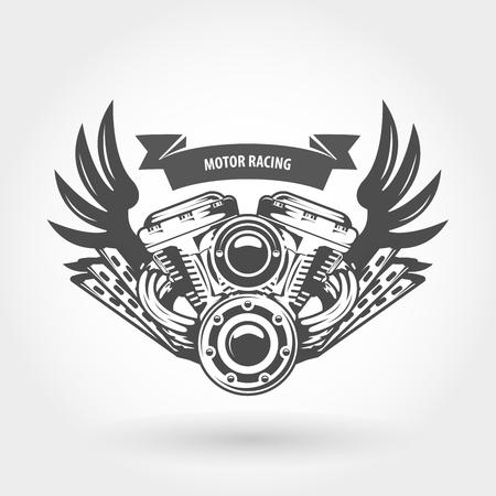 Winged motorcycle engine emblem - chopper bike motor
