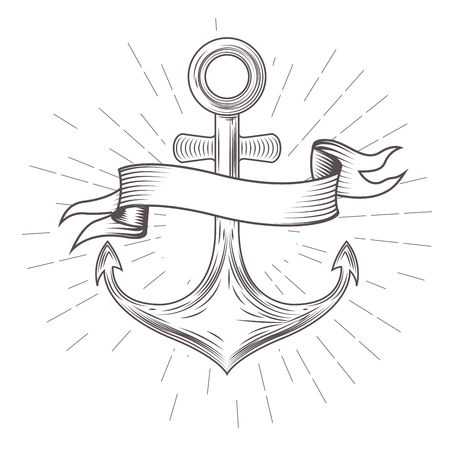 Emblem with vintage anchor and wavy banner