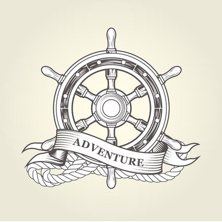 Vintage steering wheel - nautical handwheel emblem Ilustração
