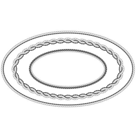 Twisted rope frame of oval shape - elliptic border Çizim
