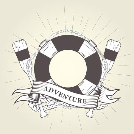 Life buoy, oars and rope - nautical emblem Reklamní fotografie - 78505862