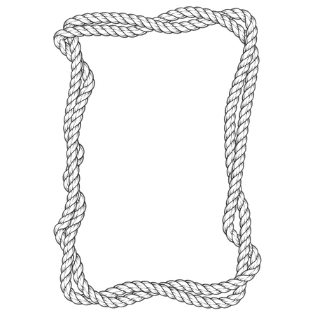 Twisted rope frame - two interlaced ropes square border