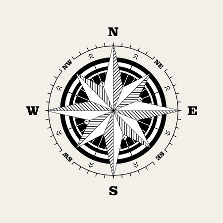 Compass rose (windrose) navigational scale Illustration