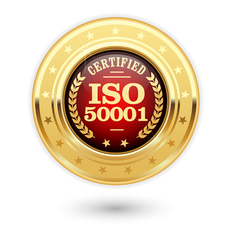 ISO 50001 certified medal - Energy management Illustration
