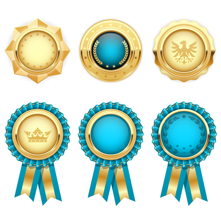 Turquoise award rosettes and gold heraldic medals Çizim
