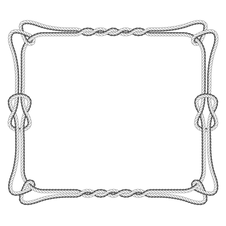 Rope square frame design with knots and loops.