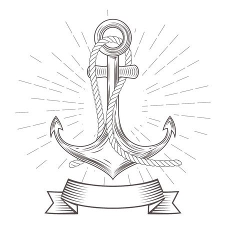 Emblem with vintage anchor with rope and banner