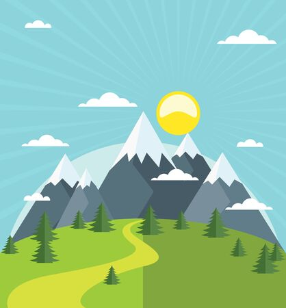 Summer mountains with snow-covered peaks, vector illustration.