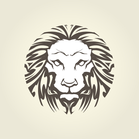 Lions head in tattoo style - muzzle front view Ilustrace