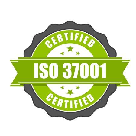 Insignia de certificado estándar ISO 37001 - Sistemas de gestión anti-soborno Foto de archivo - 81508034