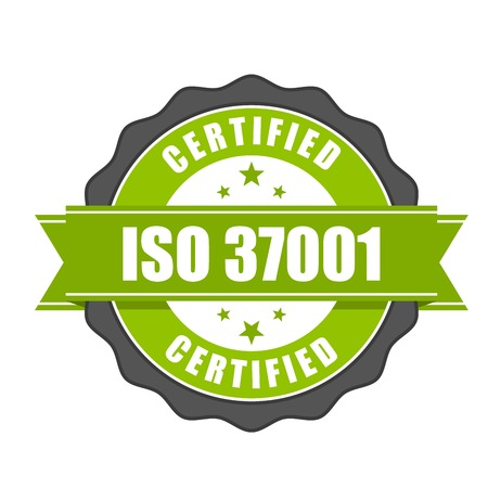 ISO 37001 standard certificate badge - Anti-bribery management systems Stok Fotoğraf - 81508034