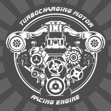 Turbocharging racing engine - power motor emblem Illustration