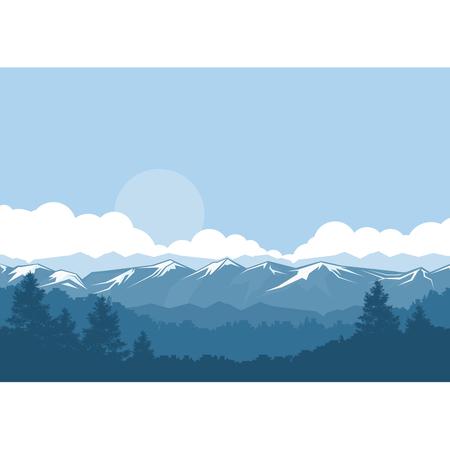 눈 덮힌 봉우리가있는 산과 숲 안개가 자욱한 풍경