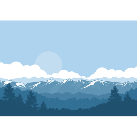 Mountains and forest foggy landscape with snow-covered peaks Illustration