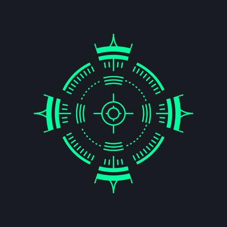 Sniper backsight or radar icon - aim symbol Illustration