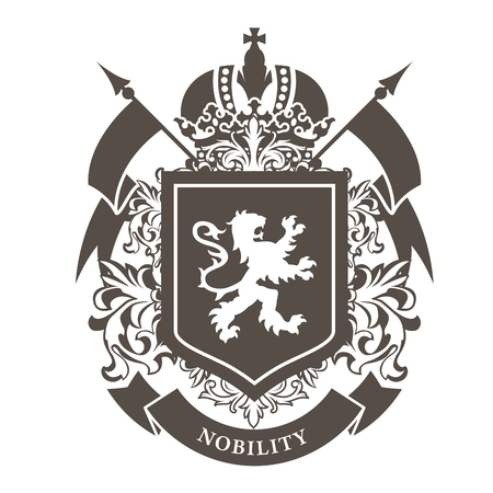 Royal blazon - luxurious coat of arms with lion on shield and crown.