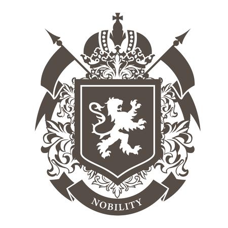 Royal blazon - luksusowy herb z lwem na tarczy i koronie