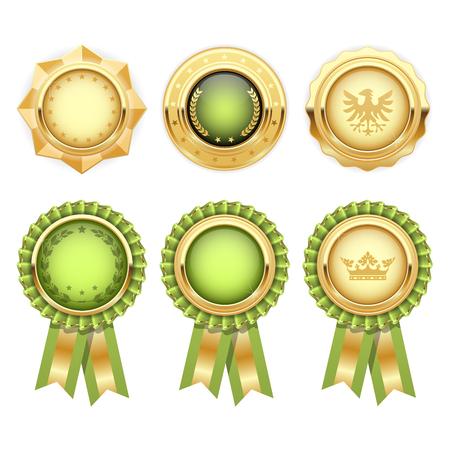 Green award rosettes with gold heraldic medal templates Çizim