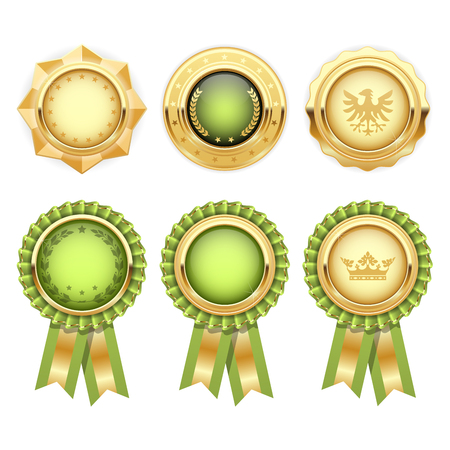Green award rosettes with gold heraldic medal templates Illustration