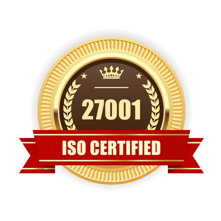 ISO 27001 certified medal - Information security management Иллюстрация