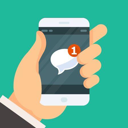 新しい受信メッセージ - スマート フォンの画面上にメールのアイコン