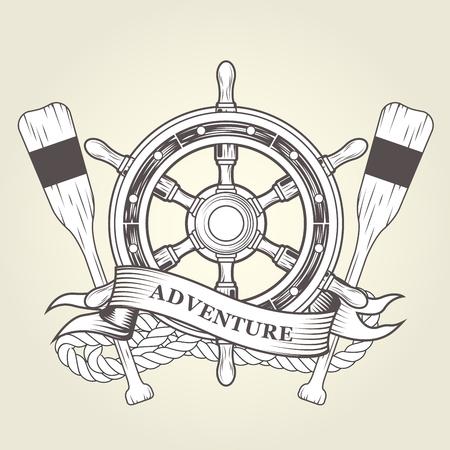 빈티지 스티어링 휠 및 노 - 핸드 휠, 로프 및 패들과 항해 상징