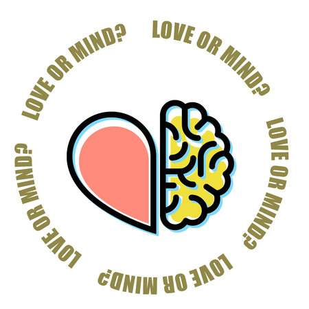 Love or mind - half of heart and brain vector