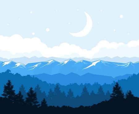 山の風景の麓に霧の森。  イラスト・ベクター素材