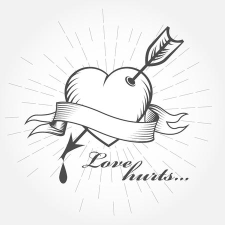 バレンタインデー - 心の矢印アイコンが付いたピアスします。  イラスト・ベクター素材