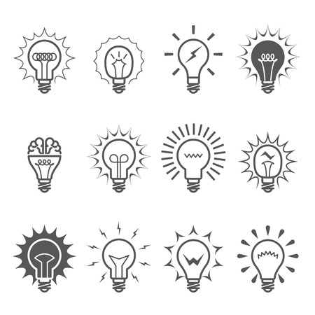 Light bulb icons - idea and inspiration symbols. Illustration