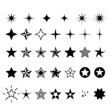Star icons - rating, rank and decor star symbols  イラスト・ベクター素材