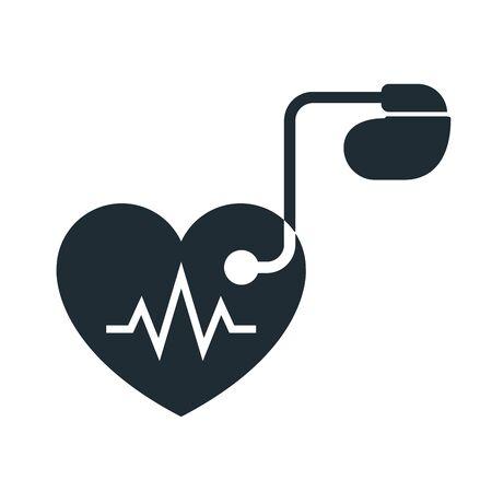 Icona cardiaca pacemaker artificiale con tracciamento impulsi Archivio Fotografico - 86805933