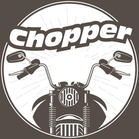 Chopper moto handlebar with rear-view mirrors Ilustração