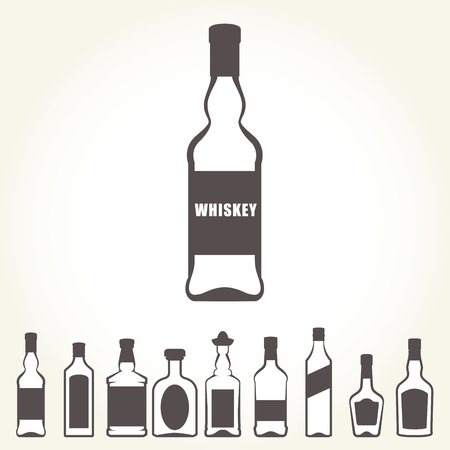 Icons of alcohol bottles