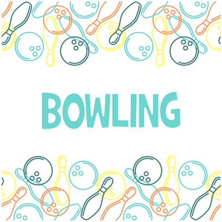 Seamless bowling pattern with outline of skittles and bowling balls Illustration