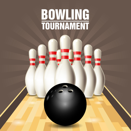 Party flyer with bowling court, skittles and bowling ball. Illustration