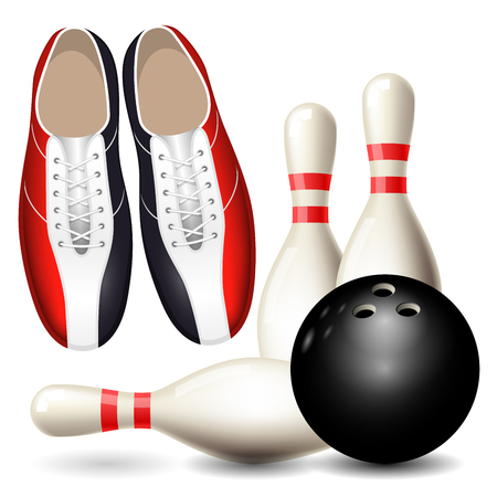 Bowling shoes, skittles and ball, bowling championship poster.