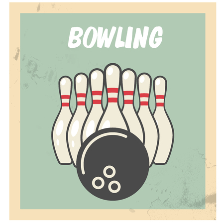 Retro bowling party flyer with skittles and ball.