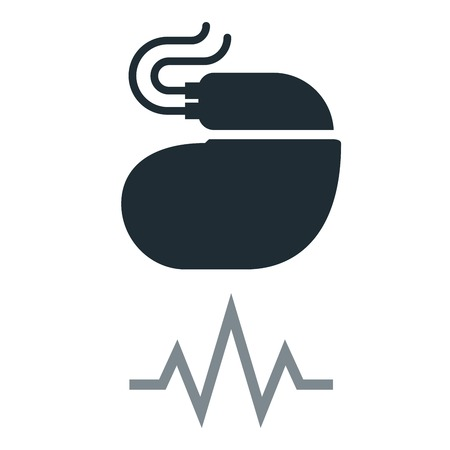 Cardiac pacemaker simple icon with pulse tracing line. Illustration