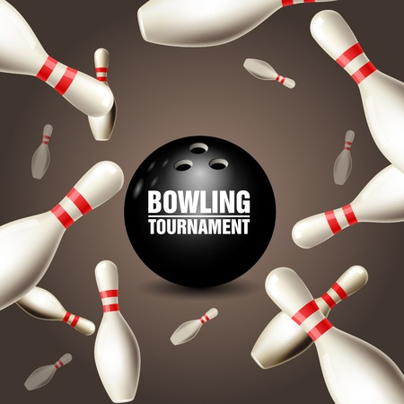Bowling tournament invitation card, frame of floating skittles and ball. 向量圖像